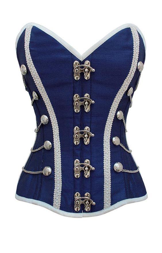 Corsé azul de inspiración militar de ballenas de acero   Corsés burlescos   Disfraz Burlesco