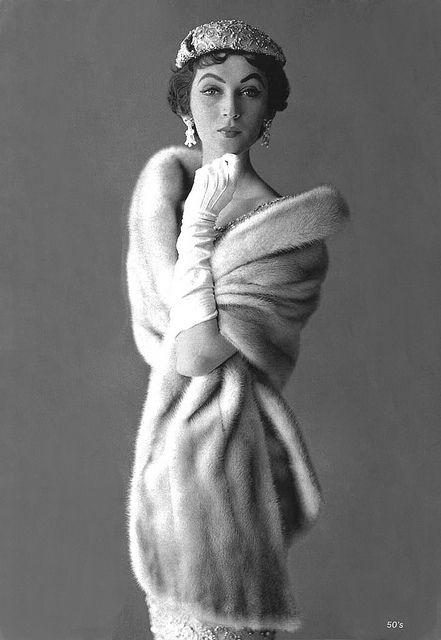 Dovima in mink 1952 by 50'sfan, via Flickr