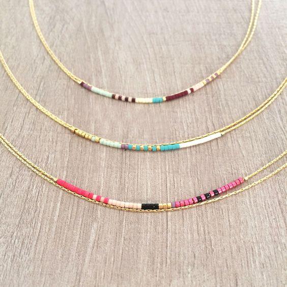 Collier Double Ultra Fin décoré de Perles par Kurafuchi sur Etsy