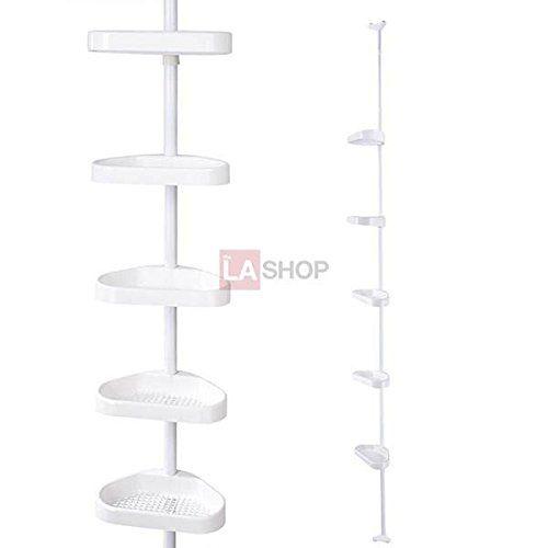 5 Tier White Plastic Tension Bathroom Toilet Corner Shelf Bath