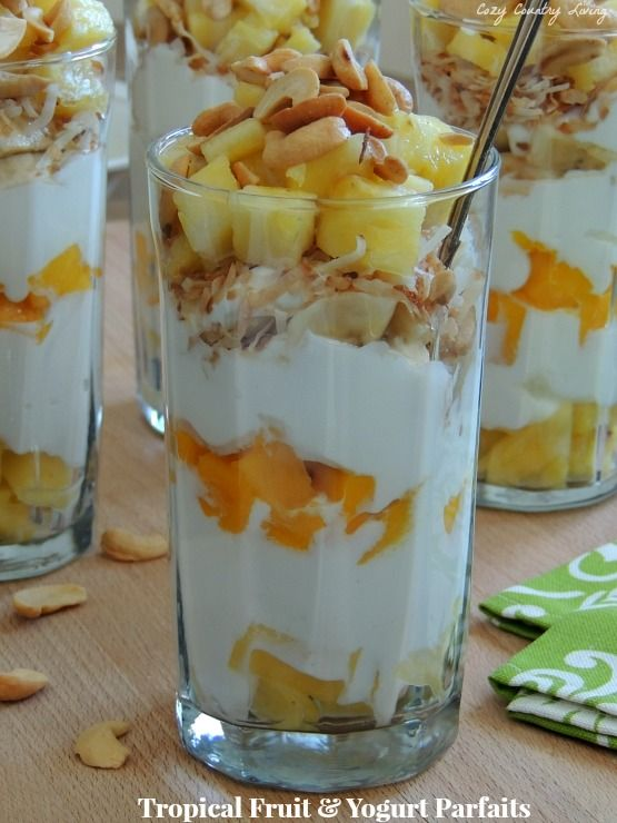 Tropical Fruit & Yogurt Parfaits | Recipe | Pinterest ...