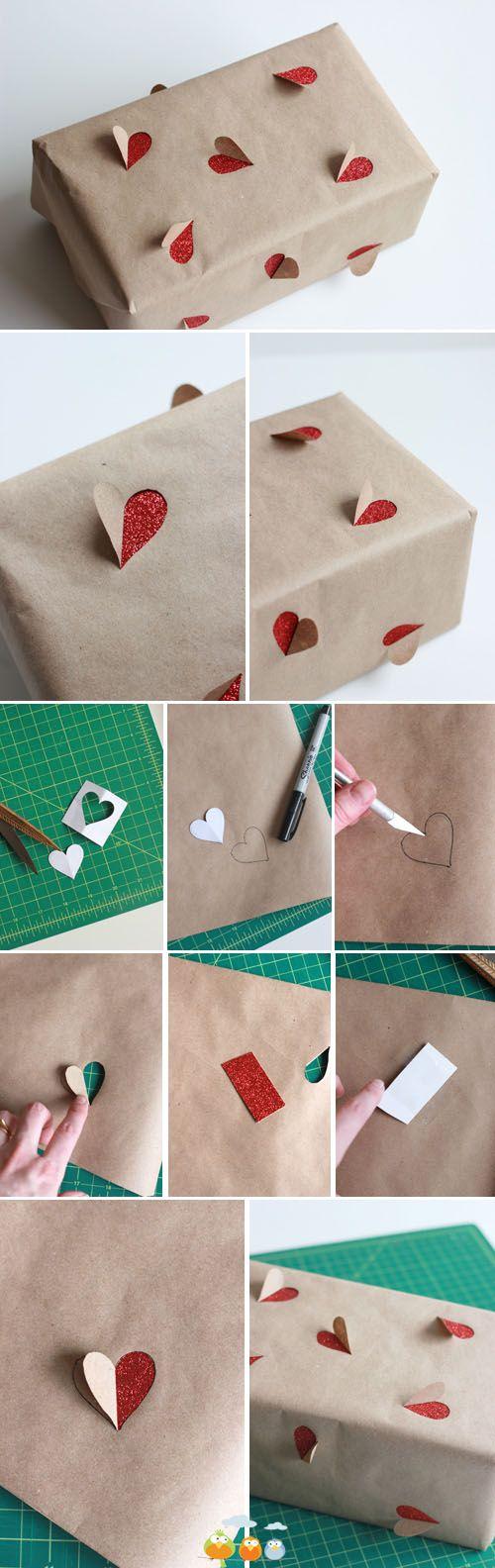 DIY heart gift wrap