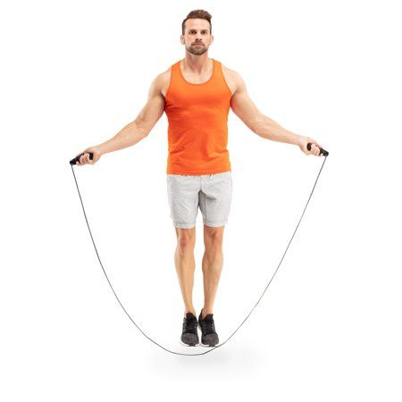 Turn your training up a notch with an Athletic Works 9 Weighted Jump Rope. Jumping rope is a multifaceted exercise that comes with a slew of great health benefits. Integrate this enjoyable piece of equipment into your current training routine to develop increased coordination, improved cardiovascular health, and maximize your calories burned. An adjustable weight feature allows you to start out slow and move up in .25 lb. increments for added intensity, ensuring you will feel the burn as you tra