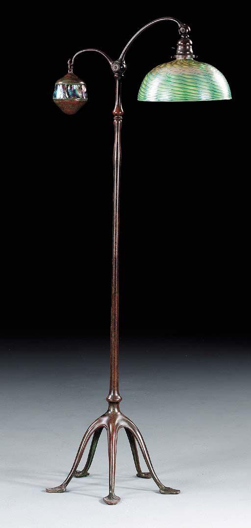 An Intaglio Carved Favrile Glass Turtleback Tile And Bronze Counter Balance Floor Lamp Tiffany Studios Circa 1910 Christie S Lamp Floor Lamp Glass