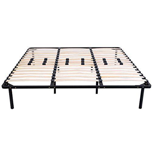 Home Queen Size Metal Slats Bed Base Wood Frame Bedroom Mattress Foundation NEW