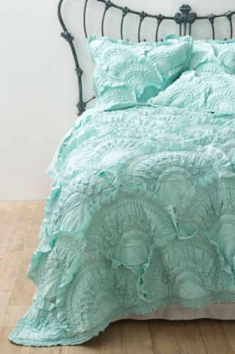 ANTHROPOLOGIE Rivulets QUEEN Quilt 4 Shams Mint forter