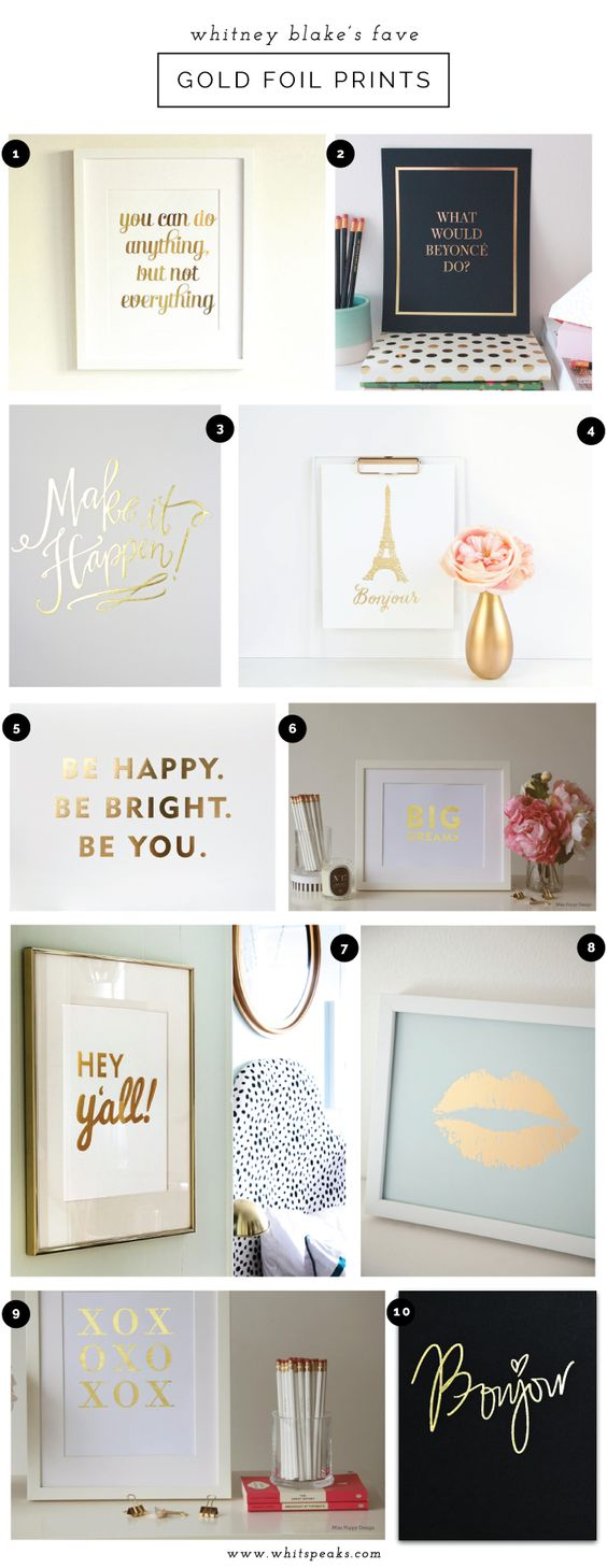 Gold Foil Art Prints // Could be so cute in a bathroom!