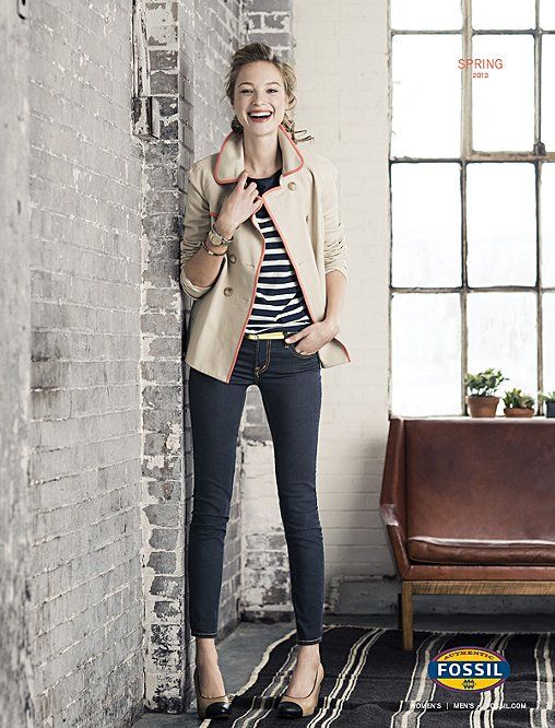 Love the jeans & spectator pump combo!  www.fossil.com: Fashion Style, Fashion Flavors, Dark Jeans, Fossil Trench, 148 Fossil, Fossil Clothing, Fossil Holiday, Clothing Fashion, Dark Skinny Jeans