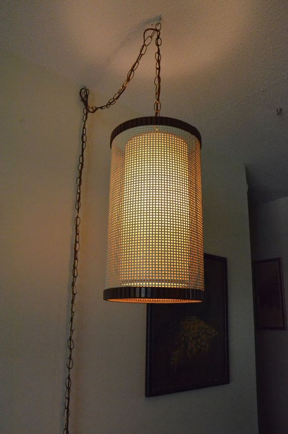 Mid Century Modern 2 Layer Mesh Hanging Swag Light Lamp