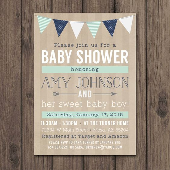 RUSTIC BABY SHOWER Invitation - Baby Boy Shower Invitation - Mint and Navy - Rustic Chic by kimberlyjdesign on Etsy https://www.etsy.com/listing/208931231/rustic-baby-shower-invitation-baby-boy