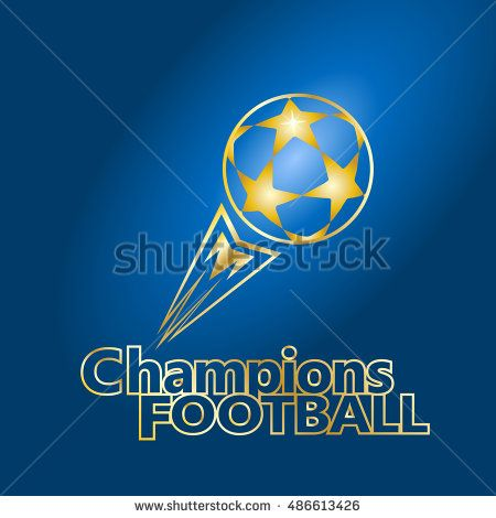 Stars Soccer Ball. UEFA. Champions Cup Football. European Championship Soccer Ball with tail fire flame fly. Soccer ball on blue background. Europa Champions League Finale 2016/17 Match Ball, icon vector.