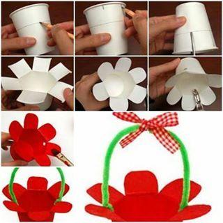 Canasta peque a hecha con un vaso desechable con vasos - Decorar vasos plasticos para cumpleanos ...