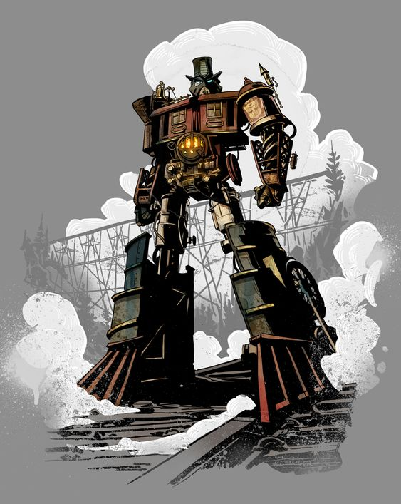 will draw for fun: locomotus prime #steampunk