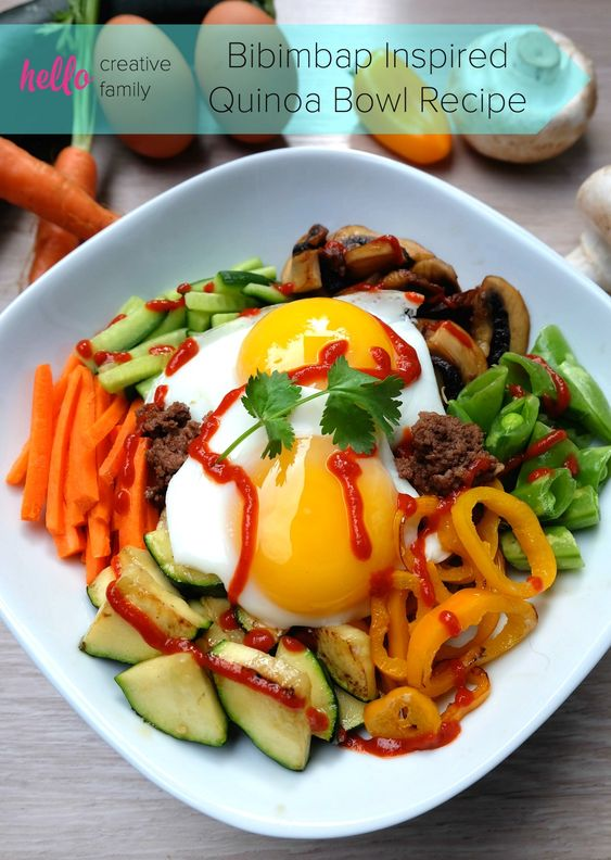 Eggs are good for more than just breakfast! Have eggs for lunch or dinner with this Bibimbap inspired quinoa bowl recipe! A delicious, vegetable packed, family friendly meal! Also, follow Crystal as she goes on a tour of BC Egg Farms!