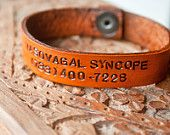 Custom Medical Alert Bracelet with Snaps - Made with your information - Unisex - Hand stamped, tooled and stained leather bracelet