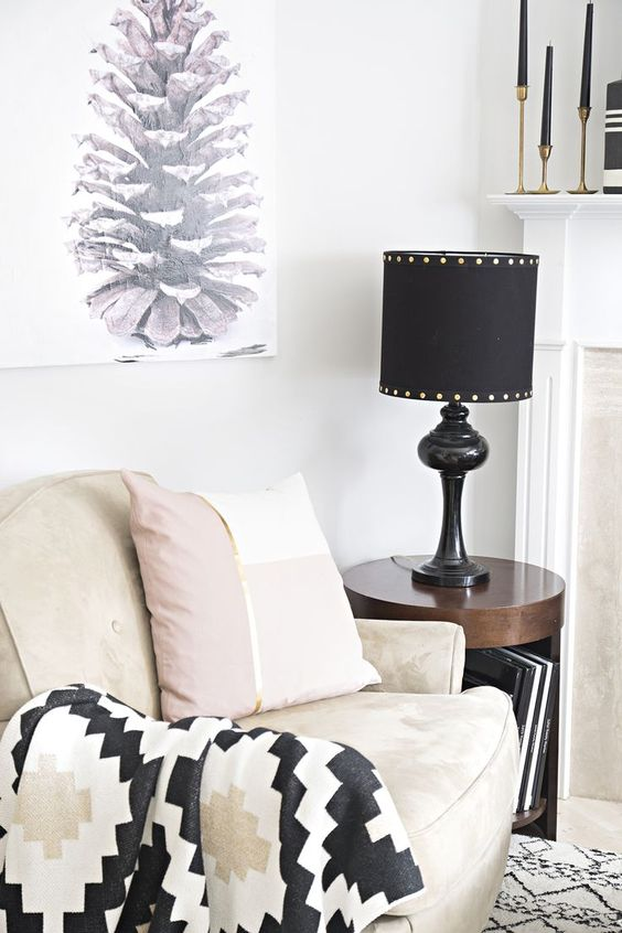 How to add a harp to an existing lamp base (black lamp shade with gold buttons)
