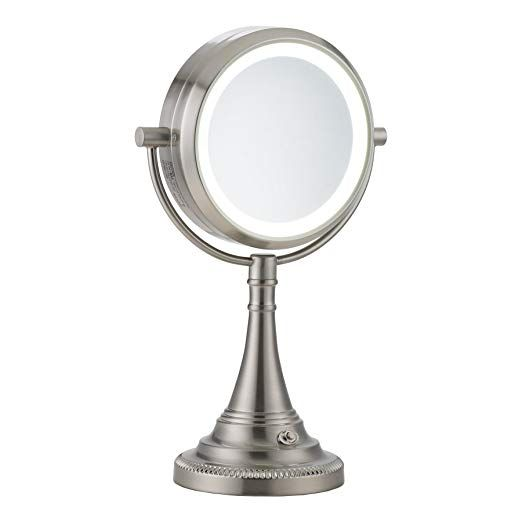 Co Z 10x Magnifying Makeup Mirror Elegant Vanity Magnifying Mirror With Light Modern Dual Sided Brushed Nickel Tablet Mirror With Lights Mirror Makeup Mirror