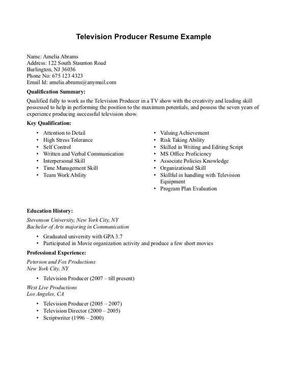 Television Producer Resume Sample  HttpResumesdesignCom