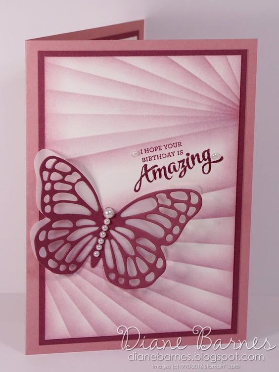 Masked butterfly birthday card using Stampin Up Mixed Borders stamp set & new colour sweet sugarplum. By Di Barnes #colourmehappy 2016-17 Annual Catalogue sneak peek:
