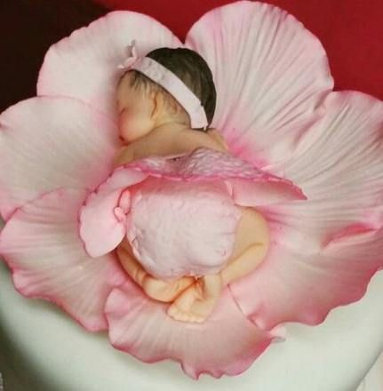 Handmade Fondant Baby girl sleeping in a rose peony Flower Baby Shower Cake Topper