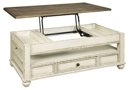 Realyn White Brown Lift Top Cocktail Table T523 9 Lift Top Coffee Table Coffee Table With Drawers Top Cocktails