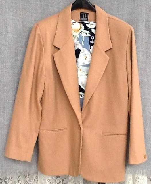 Mark Alan Camel Tan Wool Blazer Lined Jacket Womens 14 Beige & floral shell #MarkAlan #Blazer
