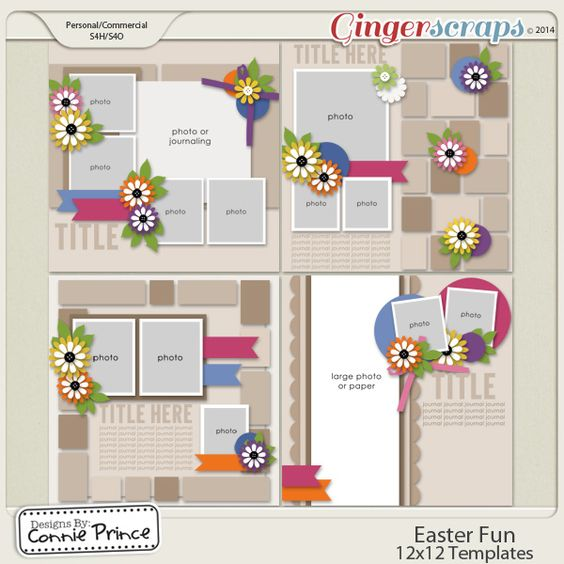 Digital Scrapbook Templates, Easter Fun by Connie Prince