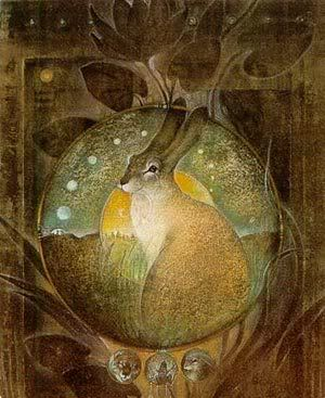 Kaltes, Goddess of knowledge of the Ugric peoples. By Susan Eleanor Boulet.  http://art.ofearna.us/boulet/images/1993-Kaltes.jpg