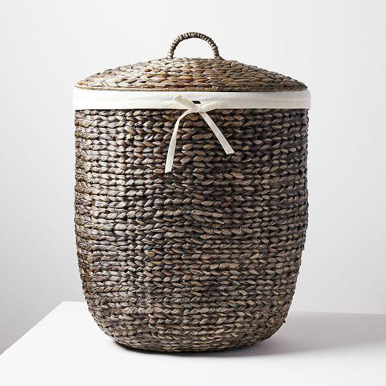 Tall Curved Basket Woven Laundry Basket Home Decor Baskets Basket Decoration
