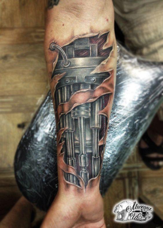 45 Awesome Biomechanical Tattoos Inkdoneright Gear Tattoo Steampunk Tattoo Biomechanical Tattoo