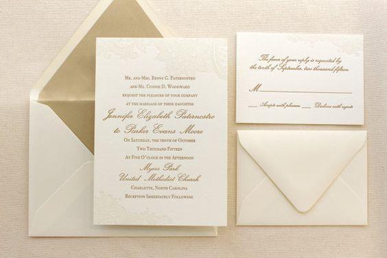 The Vintage Floral Lace Suite - Formal Letterpress Wedding Invitation Suite, Ivory, Gold, White, Script, Classic, Traditional, Simple