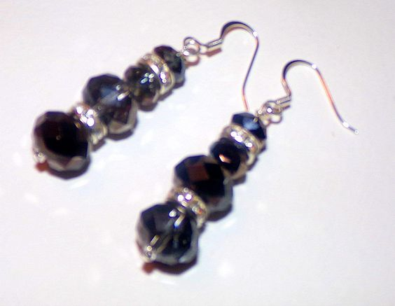 Austrian Crystals with Silver Rhinstone Spacer Beads and Silver Hooks by susansarttreasures on Etsy