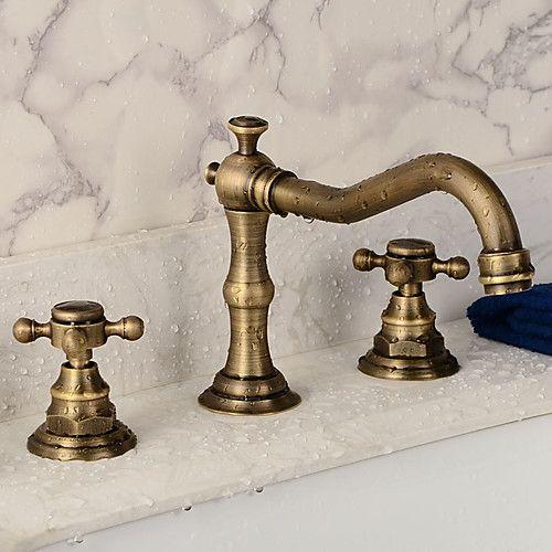Bathroom Sink Faucet Widespread Antique Copper Widespread Two Handles Three Holesbath Taps 2020 Us 87 49 In 2020 Bathroom Sink Faucets Sink Faucets Bronze Bathroom Faucets