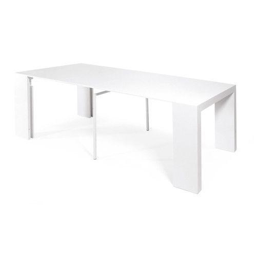 Tavolo Consolle Allungabile Bianco.Extendable Console Table Modern Design Oak Color Bia Tavolo