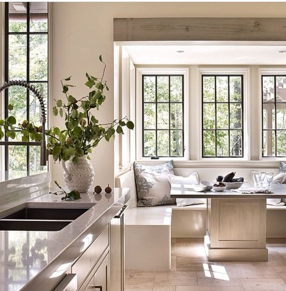 Tall ceiling with lowered nook bump out home sweet home pinterest nooks breakfast - Kitchen breakfast nook ideas ...
