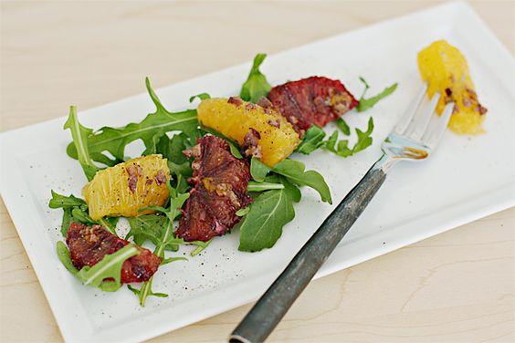 Blood orange and valencia orange salad with olive vinaigrette