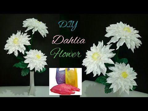 Bunga Dahlia Dari Plastik Kresek Tutorial Dahlia Flower Making From Plastic Bag Youtube Paper Flower Tutorial Dahlia Flower Paper Flowers