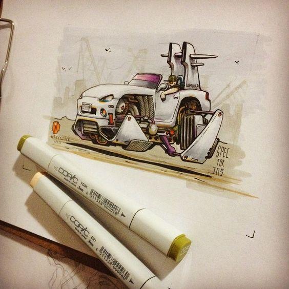 #inktober No.3 Done. #inktober2GO #inktober2014 #nitrouzzz #AndreyPridybaylo #drawing #sketch #sketchaday #sketchaday #car #spaceship #scifi #ink #mazda #mazdamx5 #mx5 #flyingcar #copic #copicart #copicmarkers #markers