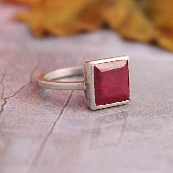 Genuine Ruby ring - Gemstone ring - Red ring - Square cut ring - Bezel ring - Precious ring - Gift for her