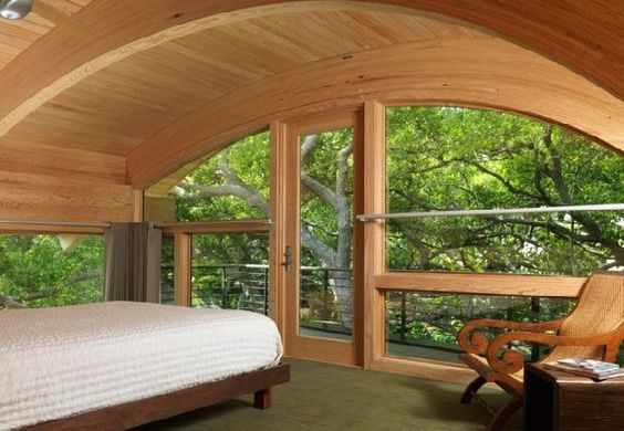 Wonderful Wooden Curved Glulam Pine Beams House Design in Florida