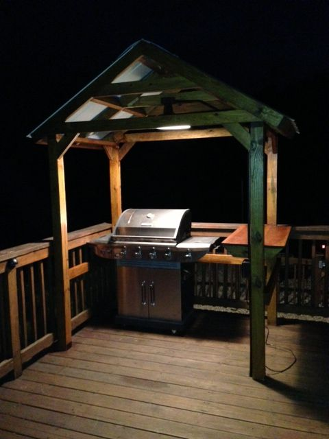 Follow the construction on this home built grill gazebo in for Built in gazebo