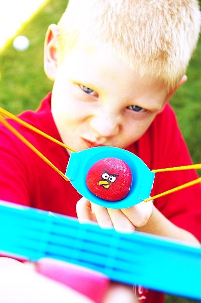 Real life angry birds diy.  J would love this!!!