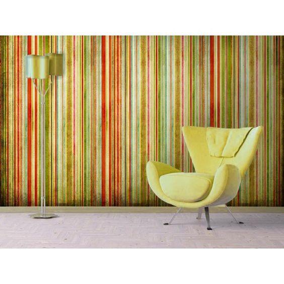 Vinilo o papel pintado rayas vintage deco murales - Papel vinilo autoadhesivo ...