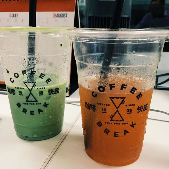 Fave green tea latte & ginger honey red tea. The red tea is perfect for hot sunny weather refreshing! #coffeebreakamoy by felfelsan