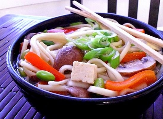 Get Hungry: Udon Noodles With Edamame, Peppers & Mushrooms in Ginger-Garlic Broth