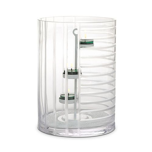 Linear Lines Hurricane Glass 25 Cm H Includes 3 Tealight Tree Jar Pillar Tealight Partylite Home Fragrance Quality Candles