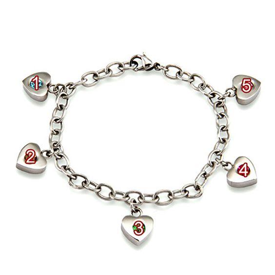 Personalized Mothers Heart Charm Birthstone Bracelet