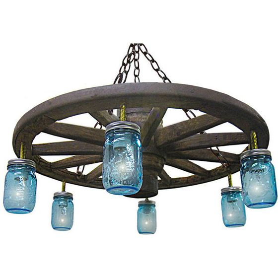 Jars, Home And Wagon Wheel Chandelier On Pinterest
