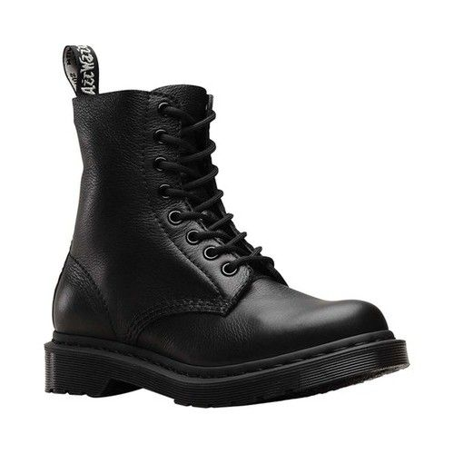 Women S Dr Martens Pascal 8 Eye Zip Boot Black Virginia Leather Boots Lace Up Combat Boots Boots Combat Boots