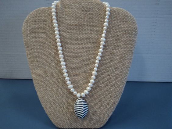 Freshwater Pearls necklace with black and by LoveYourJewelryLLC, $35.00